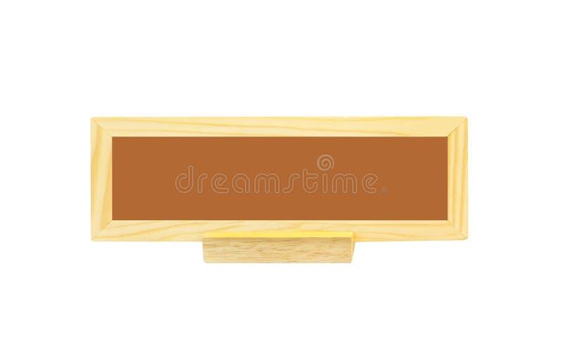 Fin vers le haut du signe en bois de modèles naturels modernes vides pour la configuration sur la table d'isolement sur le fond b photos stock