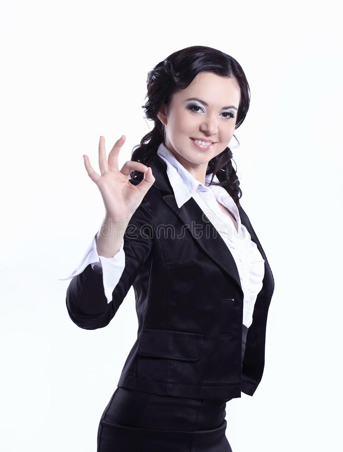 Fin vers le haut Femme d'affaires montrant l'ok de geste D'isolement sur le blanc images libres de droits