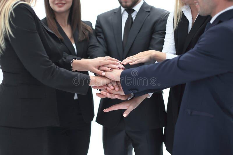 Fin vers le haut un groupe de gens d'affaires a remonté leurs mains image libre de droits