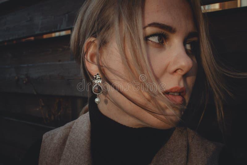 Fin vers le haut Le vent développe la fille élégante de cheveux avec de beaux bijoux Portrait d'une femme dans des tons bruns images libres de droits