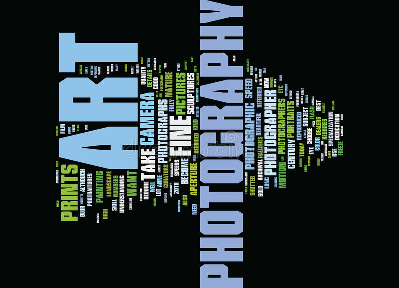 Fina Art Photography Word Cloud Concept stock illustrationer