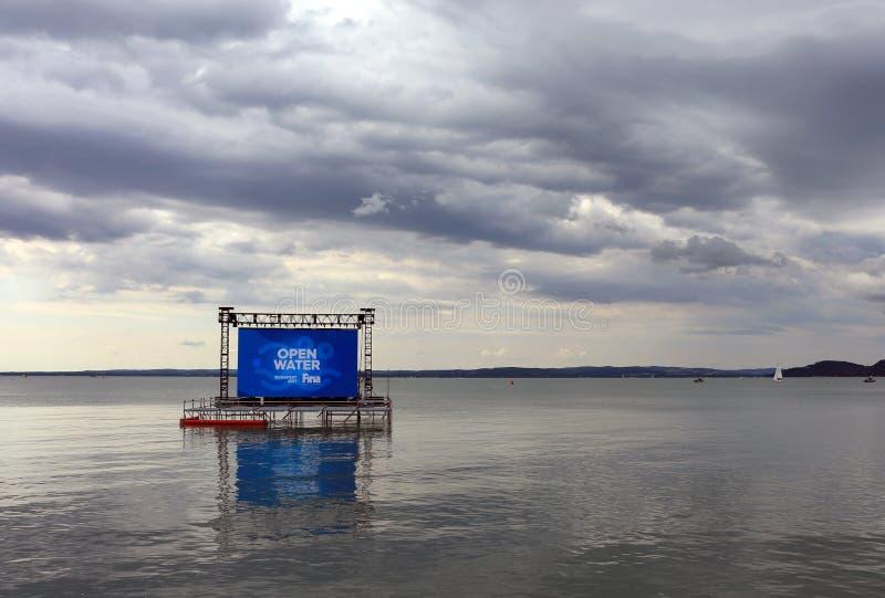 2017 FINA Budapest World Championships - open water che nuota Balaton fotografia stock libera da diritti