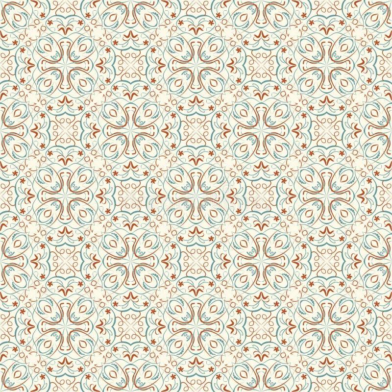 Fina orientaliska modeller i naturliga mjuka färger Sömlösa orientaliska modeller vektor illustrationer