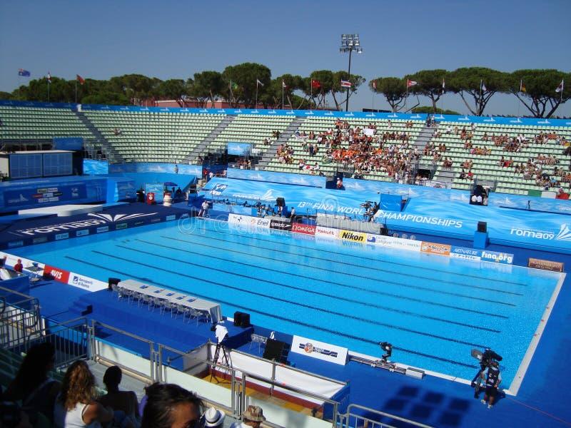 FINA World Championship. Stadium swimming pool of the syncronized swimming stock photography