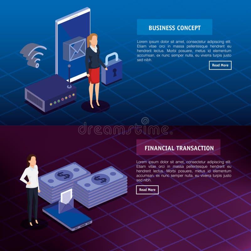Finacial transaktion med isometriskt affärsfolk vektor illustrationer