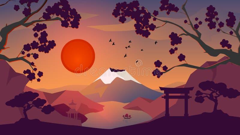 Sunset Japan landscape background, red sun stock illustration