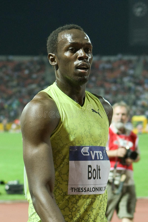 Final 2009 do atletismo do mundo do Mens 100m do parafuso de Usain imagem de stock