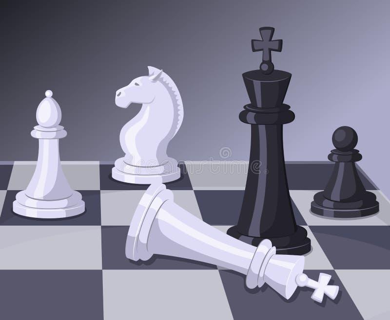 Final av schackleken Schackmatt på schackbräde äganderätt för home tangent för affärsidé som guld- ner skyen till royaltyfri illustrationer