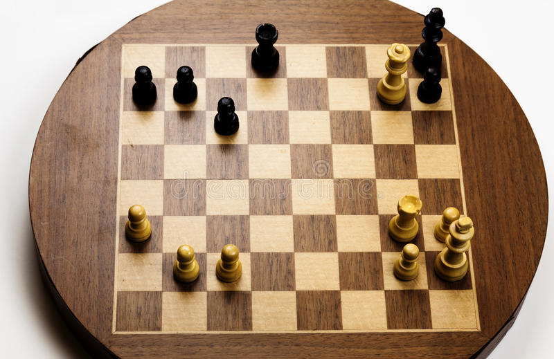 Final Checkmate Position On Old Chess Board. Checkmate Position On Old Magnetic Chess Board stock image