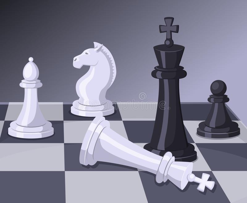 Final of chess game. Checkmate on chess board. Business concept royalty free illustration