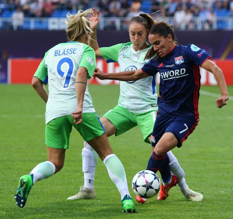 Final da liga dos campe?es das mulheres do UEFA Wolfsburg 2018 v Lyon fotografia de stock royalty free