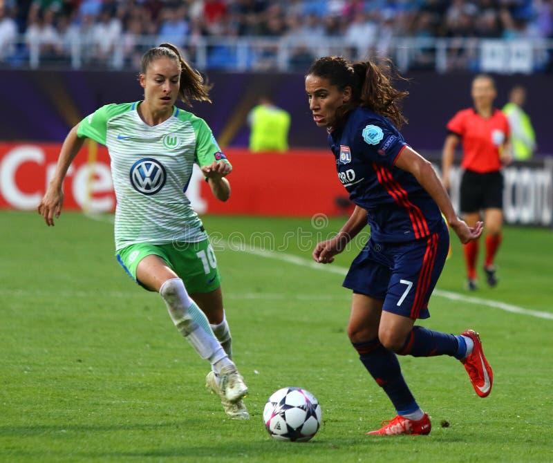 Final da liga dos campe?es das mulheres do UEFA Wolfsburg 2018 v Lyon fotografia de stock
