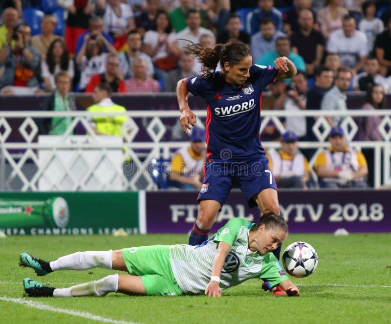 Final da liga dos campe?es das mulheres do UEFA Wolfsburg 2018 v Lyon foto de stock