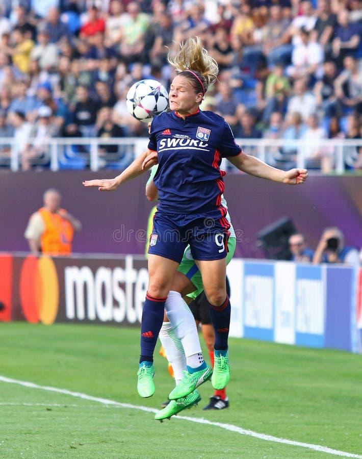 Final da liga dos campe?es das mulheres do UEFA Wolfsburg 2018 v Lyon foto de stock royalty free