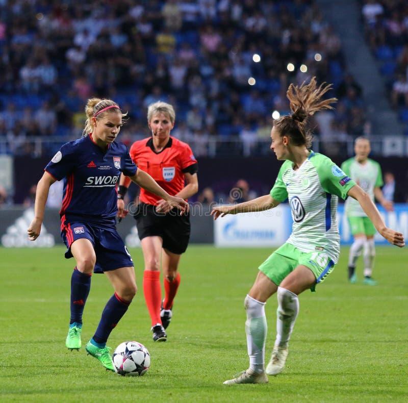 Final da liga dos campe?es das mulheres do UEFA Wolfsburg 2018 v Lyon imagem de stock royalty free