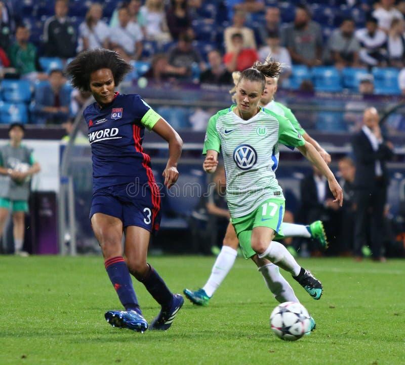 Final da liga dos campe?es das mulheres do UEFA Wolfsburg 2018 v Lyon fotos de stock royalty free