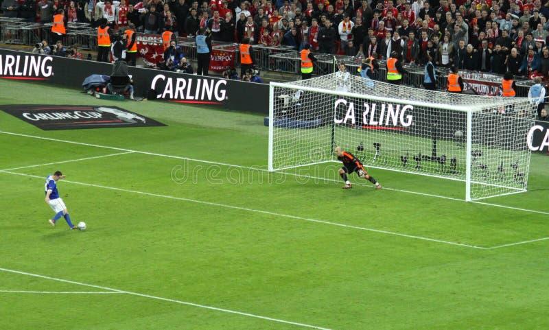 Final da Taça de Carling - penalidade de Cardiff imagem de stock
