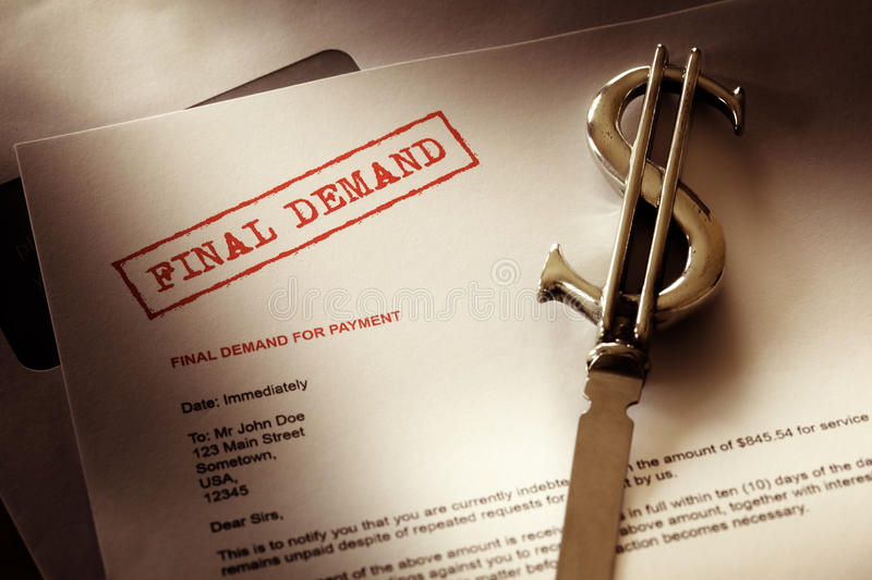 Final demand notice. Concept for debt, past due and overdue payment stock image