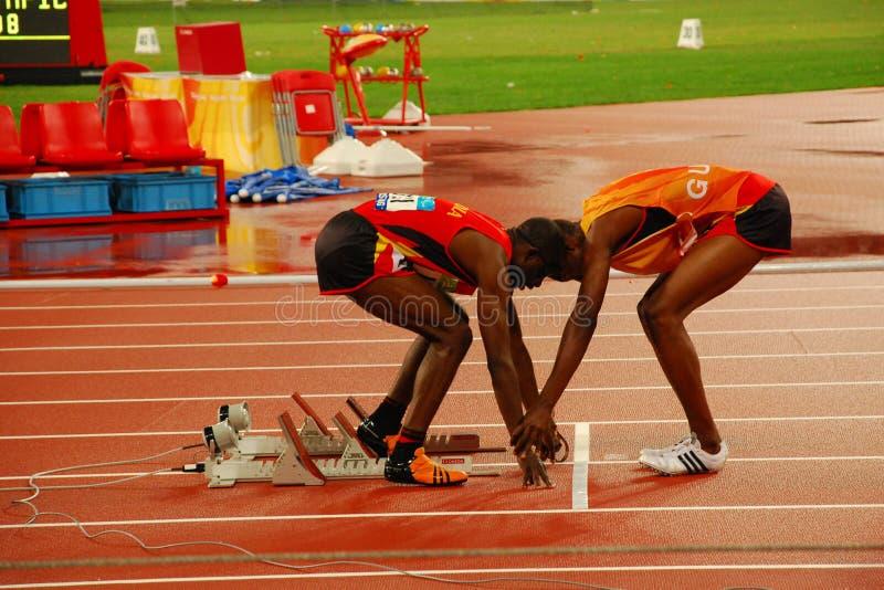 Final do atletismo T11 de 400m dos homens fotos de stock