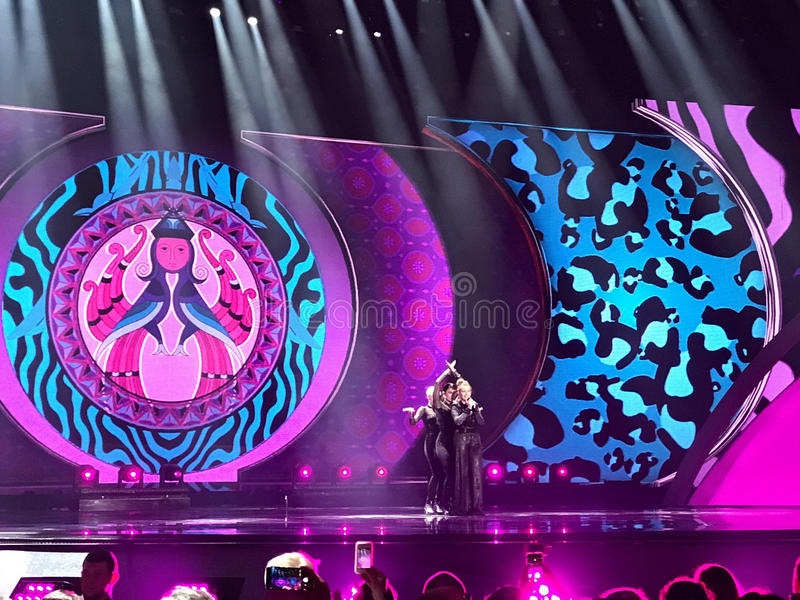 Final of Eurovision 2017 on the stage of the International Exhibition Center in the Kyiv, Ukraine. Artsvik from Armenia, 'Fly Wit. Final of Eurovision 2017 on royalty free stock photo
