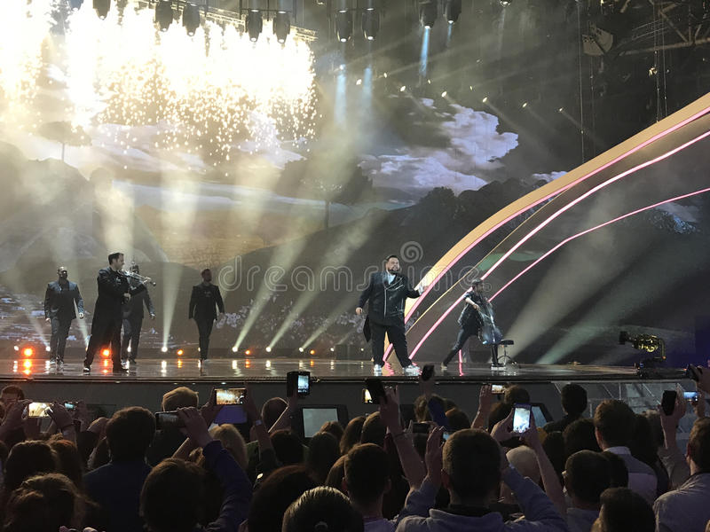 Final of Eurovision 2017 on the stage of the International Exhibition Center in the Kyiv, Ukraine. Jacques Houdek from Croatia. `My Friend`. 05.13.2017 royalty free stock photo