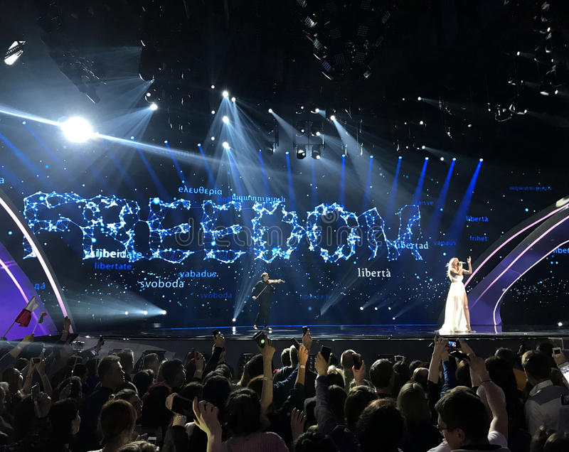 Final of Eurovision 2017 on the stage of the International Exhibition Center in the Kyiv, Ukraine. Kasia MoÅ› - Flashlight. Poland. 05.13.2017. Editorial royalty free stock photos