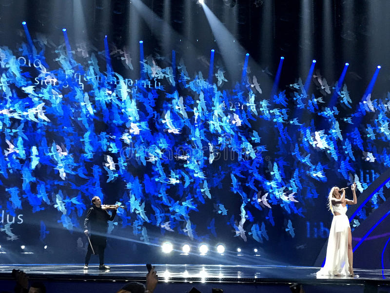 Final of Eurovision 2017 on the stage of the International Exhibition Center in the Kyiv, Ukraine. Kasia MoÅ› - Flashlight. Poland. 05.13.2017. Editorial stock image