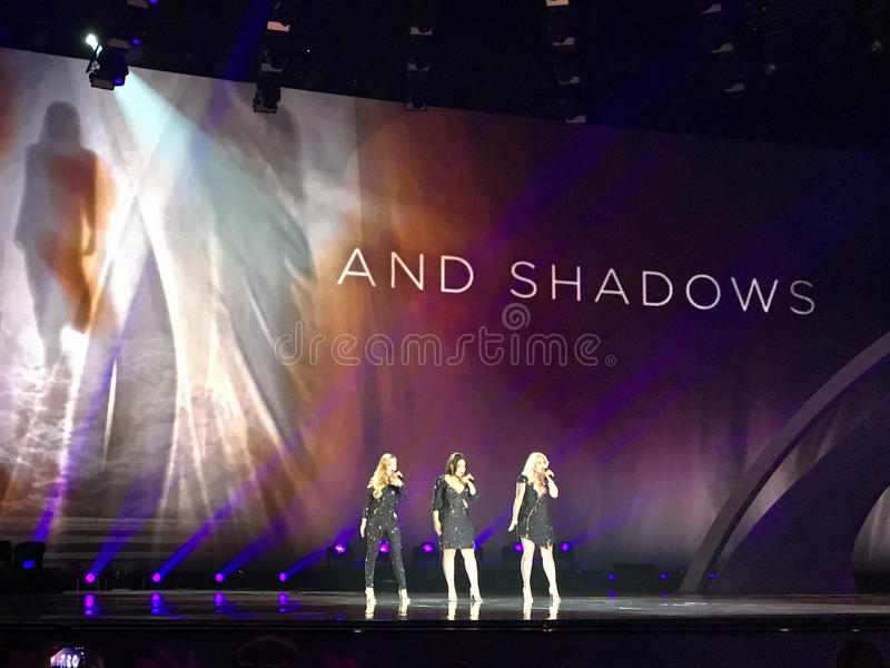 Final of Eurovision 2017 on the stage of the International Exhibition Center in the Kyiv, Ukraine. OG3NE from. Netherlands, `Lights And Shadows`. 05.13.2017 stock photos