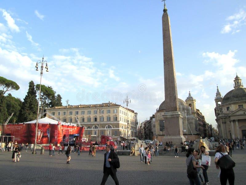 Final fantástico del viaje del trofeo del ` s de Piazza del Popolo Roma Roma 2012 Italia imágenes de archivo libres de regalías