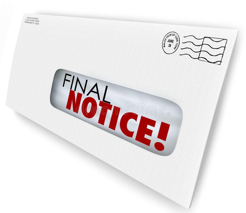 Final Notice Envelope Bill Invoice Past Due Pay Now. Final Notice words on a bill or invoice that is overdue or an account being closed, cancelled or terminated stock illustration