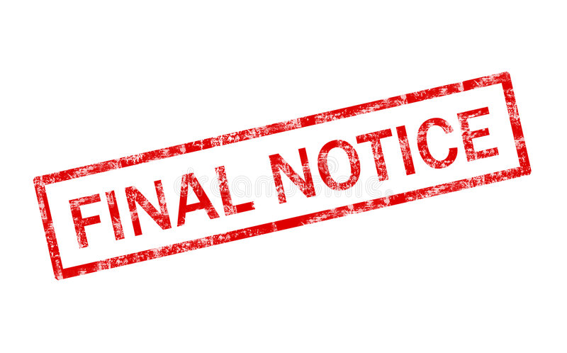 Final notice stamp royalty free illustration