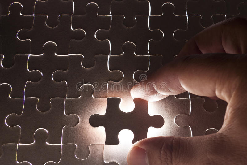 Final Piece. Of the Jigsaw stock photo