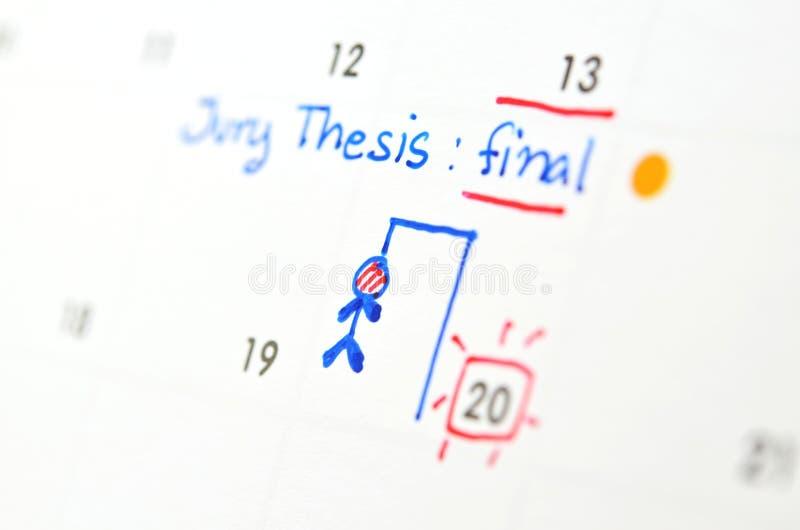 Final project day in calendar. Filling in final project day on calendar stock photos