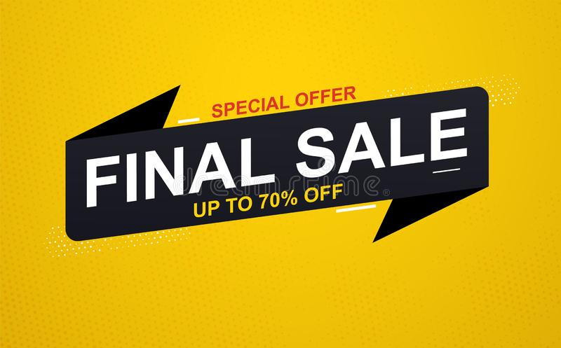 Final sale banner sticker up to 70% discount on yellow background. Special offer banner vector illustration
