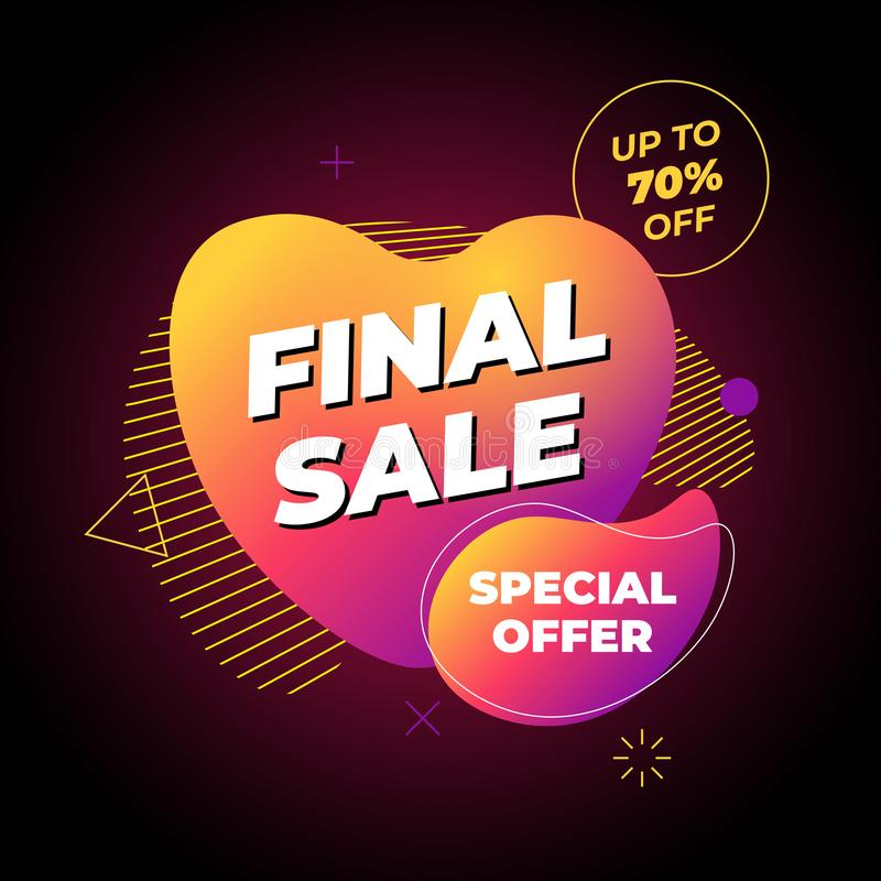 Final sale banner template design. Up to 70 percent off special offer on abstract liquid shape poster. Flat geometric royalty free illustration