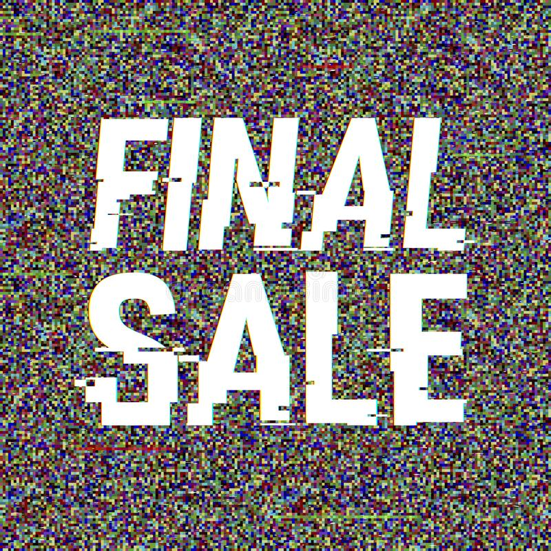 Final Sale glitch text. Anaglyph 3D effect. Technological retro background. Online shopping concept. Sale, e-commerce. Retailing, discount theme. Vector vector illustration