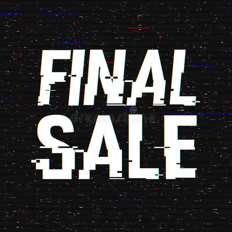 Final Sale glitch text. Anaglyph 3D effect. Technological retro background. Online shopping concept. Sale, e-commerce. Retailing, discount theme. Vector stock illustration