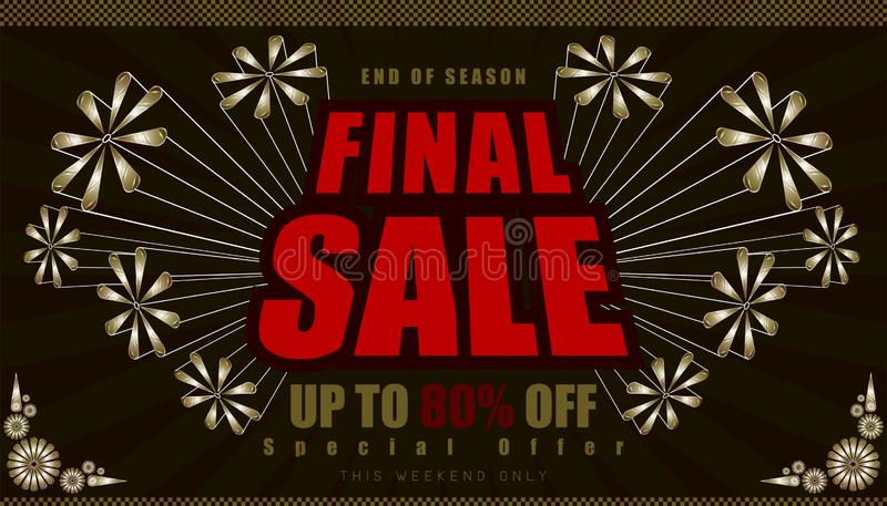 Final sale up to 80% end of year special offer. vintage retro element firework explode from center. vector illustration eps10. Final sale up to 80% end of year vector illustration