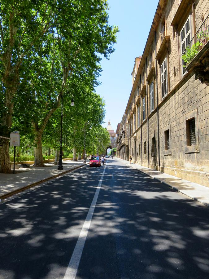 The final section of the Cassaro street in Palermo, Italy stock images