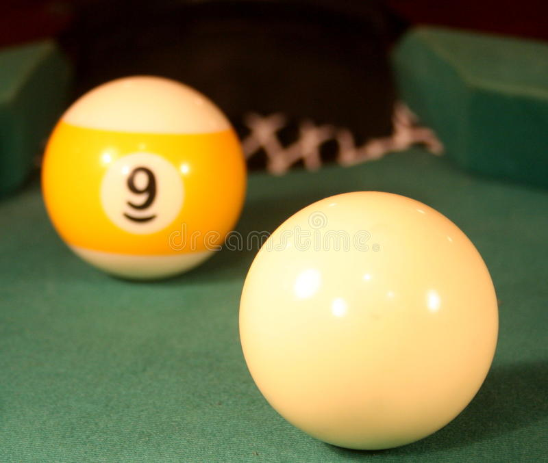 Final shot. Probably final shot of 9 ball pool game stock images