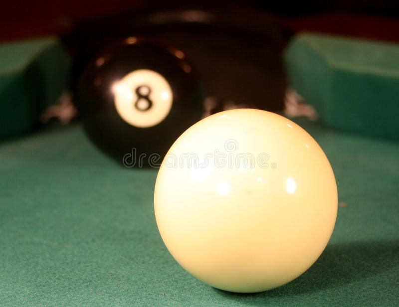 Final shot. Probably final shot of 8 ball pool game royalty free stock photo