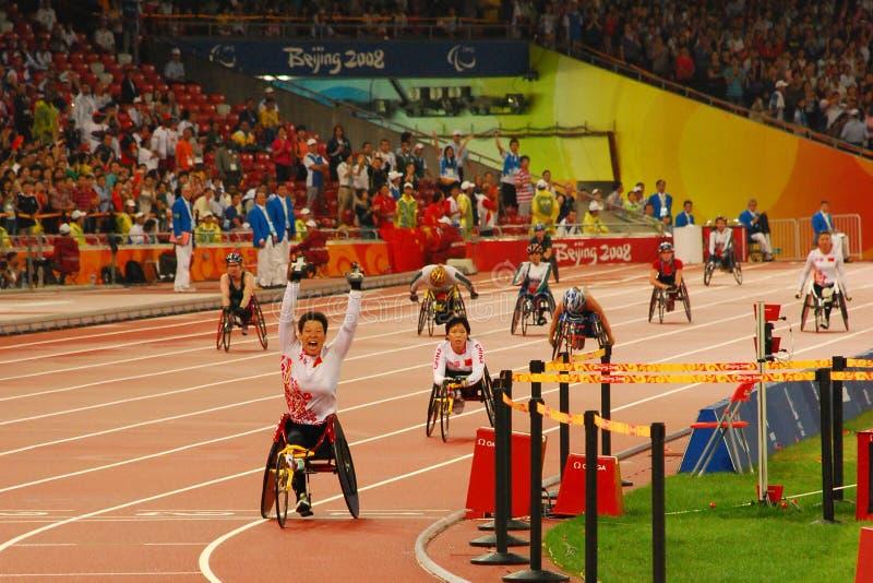 Finale T53-T54 di 4 x di 100m delle donne immagini stock libere da diritti