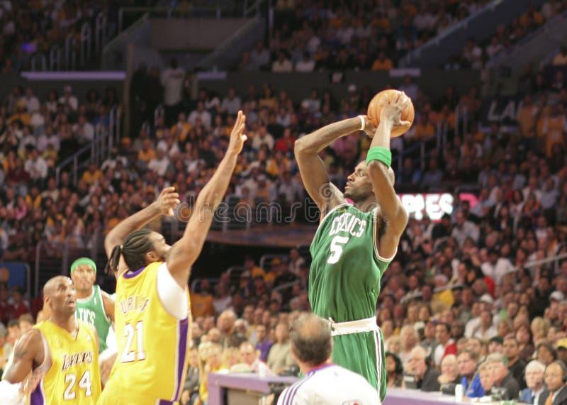Finales de los Celtics de NBA Lakers foto de archivo