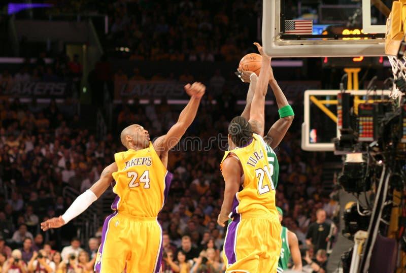 Finales de los Celtics de NBA Lakers fotografía de archivo