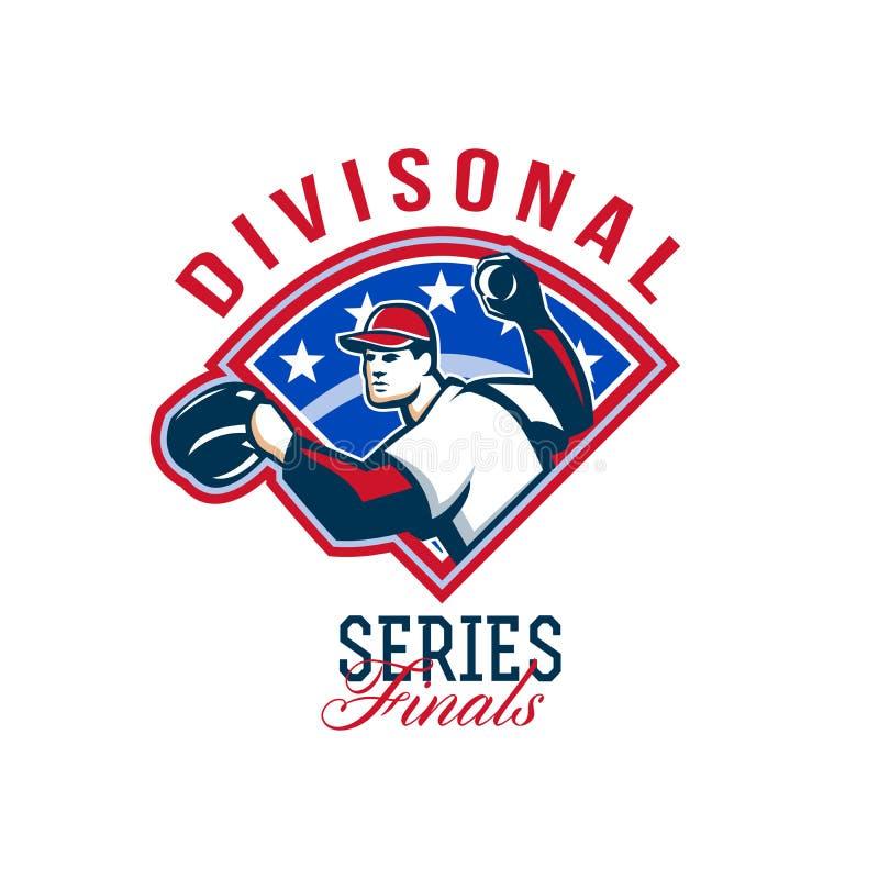 Finales divisionales de la serie del béisbol retros ilustración del vector