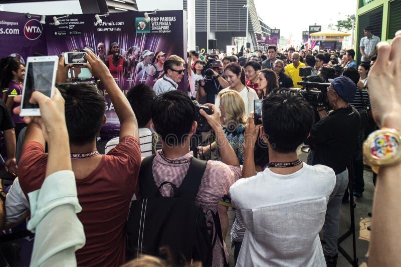 Finales Singapour de WTA Li Na Autograph Session 2014 photographie stock libre de droits
