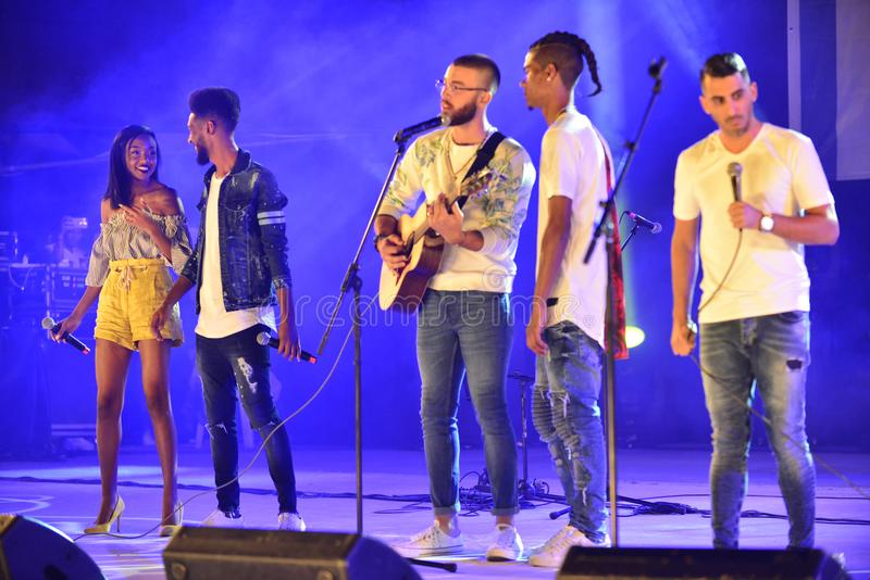 The finalist of the TV show X Factor 2017 preforming at Israel 70 Independence Day royalty free stock image