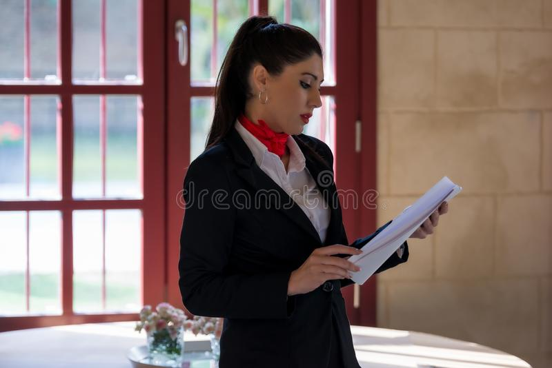 Finalizing the details of the meeting stock image