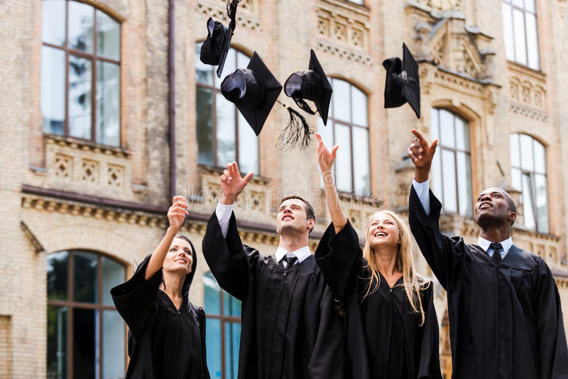 We are finally graduated! royalty free stock image