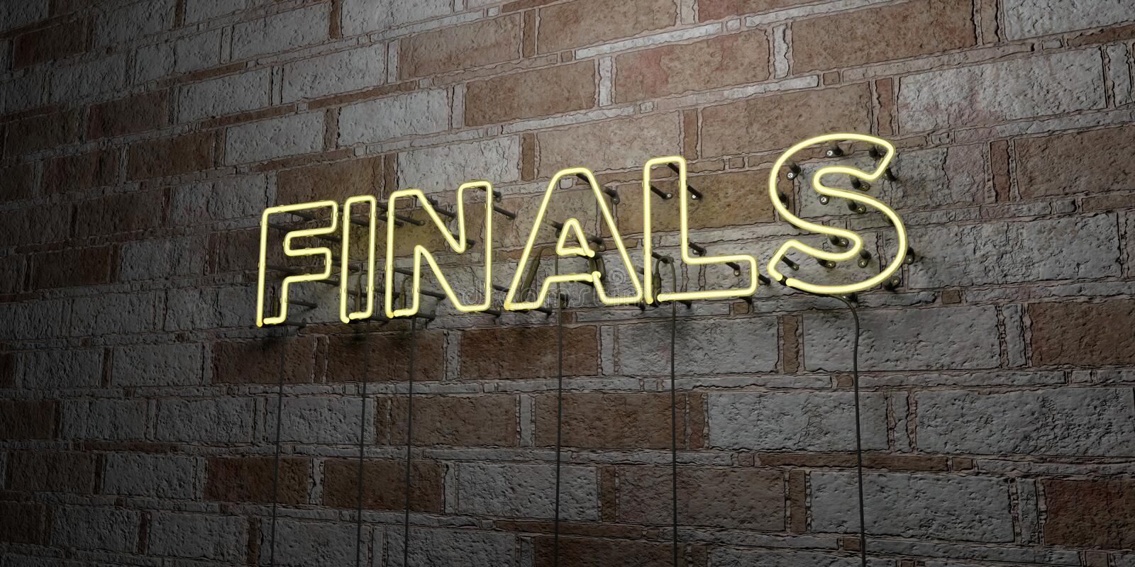 FINALS - Glowing Neon Sign on stonework wall - 3D rendered royalty free stock illustration. Can be used for online banner ads and direct mailers vector illustration